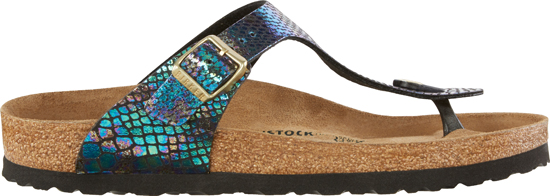 BIRKENSTOCK Gizeh shiny snake black multi regular 1003464 zwart