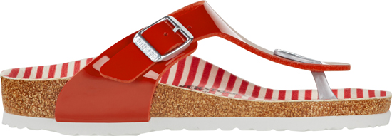 BIRKENSTOCK Gizeh nautical stripes red narrow patent 1012722 rood