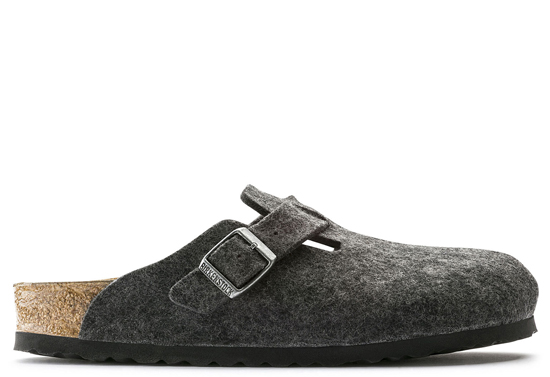 birkenstock boston anthracite wool small 160373 grijs