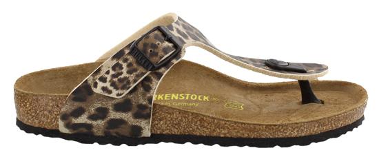 birkenstock gizeh leopard brown narrow 345553 bruin