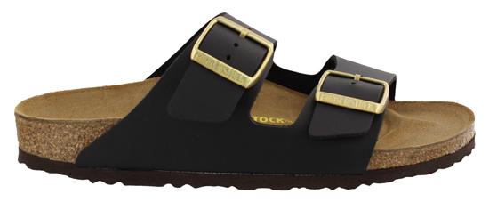 birkenstock arizona black gold buckle narrow 652253 zwart