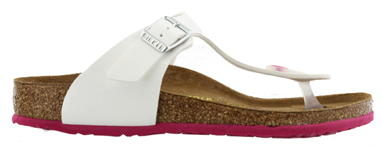 BIRKENSTOCK Gizeh white patent outsole pink narrow 745703 wit